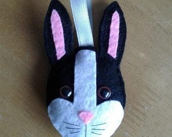 Felt Black and White Dutch rabbit Easter Christmas bauble