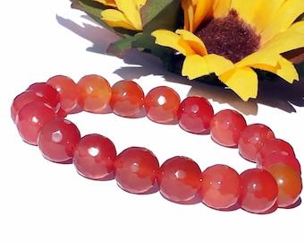 12mm Orange Carnelian Bracelet, Orange Carnelian Jewelry, Carnelian Mala, Natural Red Orange Gemstone Bracelet, Faceted Carnelian Bracelet