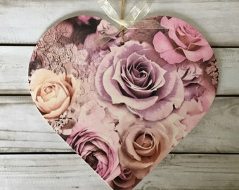 15cm decoupaged wooden hanging heart ~Pink Roses ~ Shabby/Floral/Home Decor/ Birthday Gift/Mother's Day