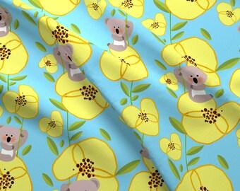 Koala Fabric - Yellow Pansies By Bluegreenplanet - Kids Kawaii Koala Floral Cotton Fabric By The Yard With Spoonflower