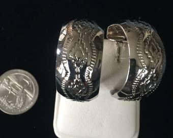 Vintage Sterling Silver Large  Hoop Earrings - AB
