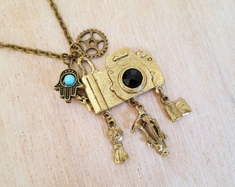 Vintage Style Camera Necklace, Necklace with Camera, Steampunk Necklace with Hamsa Hand