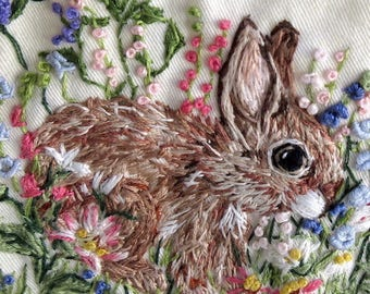 Woman's Shirt Size Small/ Hand Embroidered Wearable Art;  One of a Kind/ Sleeveless,  New, /  / In the Bunny Garden