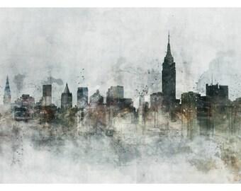 NYC SKYLINE 01: Giclee Fine Art Print 13X19
