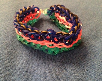 Colorful Three Tier Rainbow Loom Bracelet