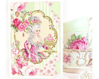 Marie Antoinette card, birthday card, card for her, pink roses, French macaron, high tea, bakery card