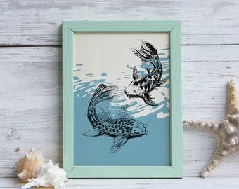 Koi Fish Poster, Koi Fish Art, Pisces Printable, Bedroom Decor, Pisces Art, Nautical Art, Koi Fish Print, Gift Under 10, Digital art