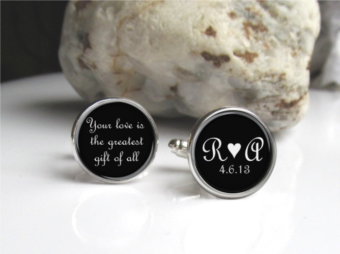 Personalized Cufflinks Groom Cufflinks Custom Bride And