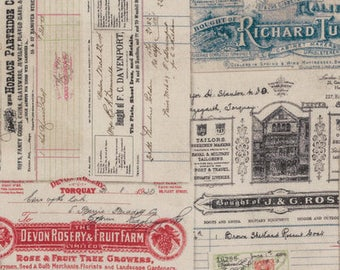 Dapper by Tim Holtz for Coats - Full or Half Yard Eclectic Elements Vintage Receipts