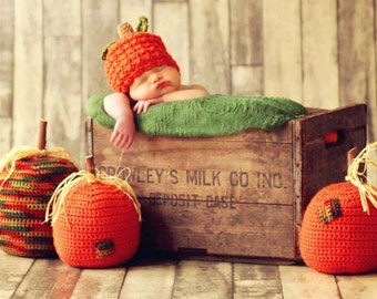 Baby Child PUMPKIN Hat CROCHET PATTERN in 5 sizes 0-10 years, Easy