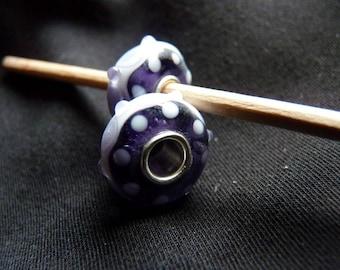 "Murano glass style ""Pandora"" Purple and mauve"