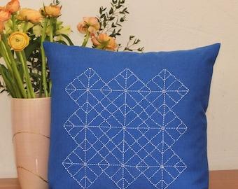 Hand embroidered pillow with Japanese Sashiko embroidery-Hiyoku Igeta