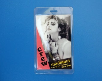 1985/86 Madonna Laminated Crew Backstage Pass from the Like a Virgin Tour, authentic 80s pop music memorabilia
