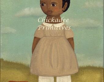 Primitive Folk Art Girl Portrait
