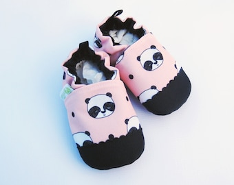 Eco-Canvas Vegan Pandas in Blush / non-slip soft sole baby shoes / made to order / babies toddlers preschool