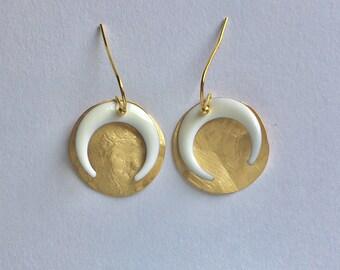 """""""Luna"""" white hoop earrings"""