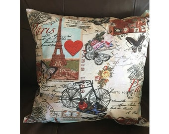 Paris Collage Throw Pillow