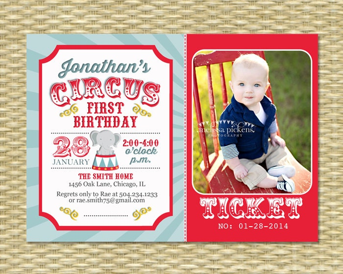 Circus First Birthday Invitation Circus Birthday Invite