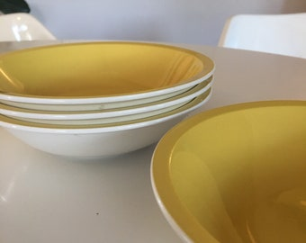 Mikasa Cera Stone Bright Yellow and White Soup Bowls - Set of Four