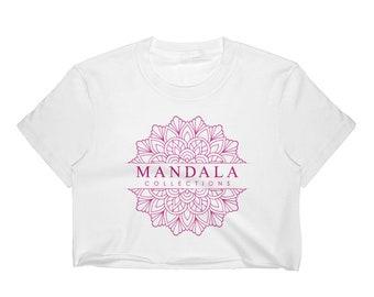 Mandala Collections Magenta Women's Crop Top / Short Sleeve Cropped T-Shirt #039848