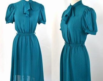 1980s Dark Teal Sheer Shirtwaist Dress and Belt by Byer Too, Bow Collar