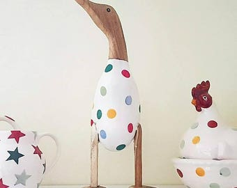 Wooden duck ornament~standing~decoupage~Emma Bridgewater~dcuk inspired~hearts~floral~stars~gift for her~decorative~kitchen~birthday gift