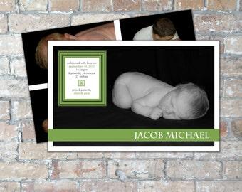 Modern Birth Announcement {Boy or Girl} {Digital Item}