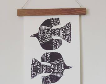 Fuglar. Lino print.