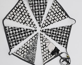 Black/White Handprinted Bunting/Hand Printed Fabric flags/Double sided cotton fabric bunting
