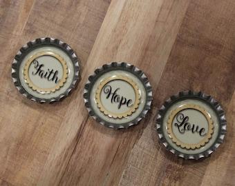 Faith Hope Love Bottle Cap Magnet Set Of 3- Christmas