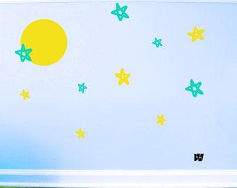 Nursery Decals. Star Decals. Full moon wall decal. Nursery decor. Wall sticker. Home decor decals. Bedroom Decals.