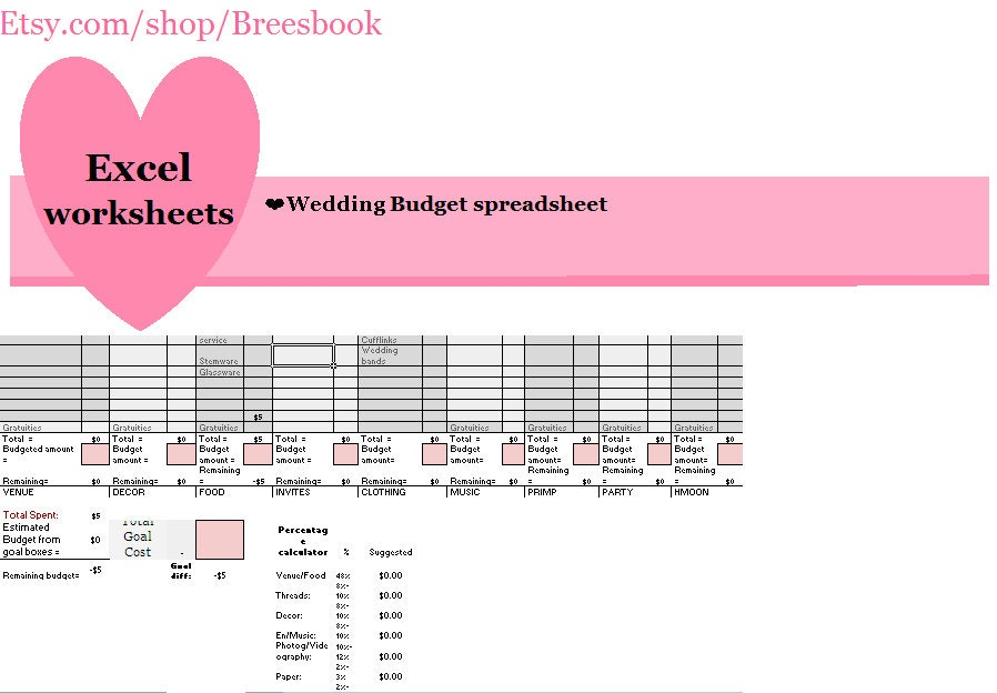 Großartig Hochzeit Budget Tabellenkalkulationsvorlage Fotos ...