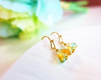 Colorful Earrings, Small Drop Earrings, Flower Drop Earrings, Simple Earrings, Simple Jewelry, Gift for Women Earrings, Girlfriend Gift