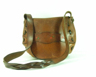 vintage western leather purse shoulder bag brown boho hippie hobo flower child woven