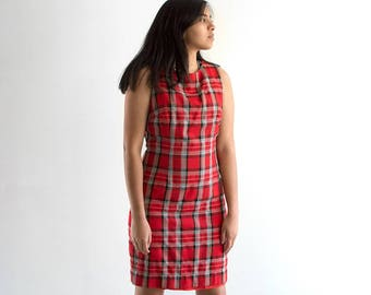 90s Plaid Clueless Dress / Red Mini Tartan Print Tank Top Dress / Medium-Large