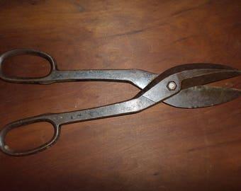 Very large sheel metal snips 14 in. long industrial steam punk