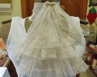 Antique DOTTED SWISS JABOT Ascot or Frothy Neck Accent, White Dotted Swiss, Cotton Band Period Reenactor Wear Unisex Wear Edmund Burn Name