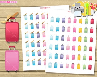 Suitcase Printable planner stickers, Travel kit printable  for your life planner. Cute stickers.