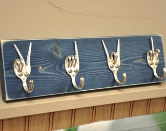 personalized Fork Key rack  Peace x Love x Rock On x Fork U Recycled Silverware
