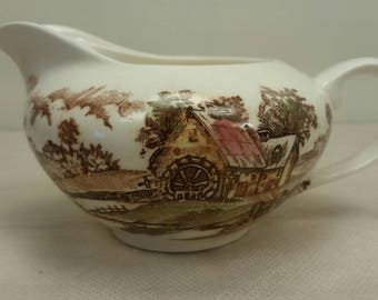 Creamer or Gravy Boat Antique with Wonderful Millwheel and Creek Scene