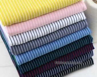 Pin Stripes Fabric Pink Grey Blue Yellow Black Stripe Baby Jersey Knit Cotton Fabric- 1/2 Yard