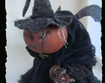GRUMPLIN,Pumpkin, A Primitive, Folk Art, Hunchback, Doll, HALLOWEEN, PATTERN