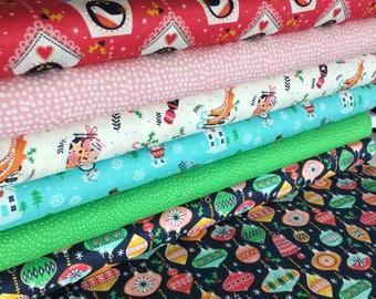 Dashwood Studio Christmas Print Fabric, 100% Cotton, Christmas Fabric Fat Quarter Bundle