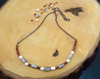 Reiki Healing Necklace, Carnelian Necklace, Mother of Pearl, Coral, Copper, Memory Necklace, Intuition, Vitality Necklace