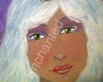 Mixed Media, Painting, Woman with Crown, Beauty Queen, White Hair