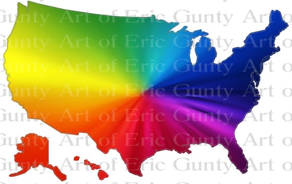 US Map Rainbow Birthday - Edible Cake and Cupcake Topper For Birthday's and Parties! - D22937