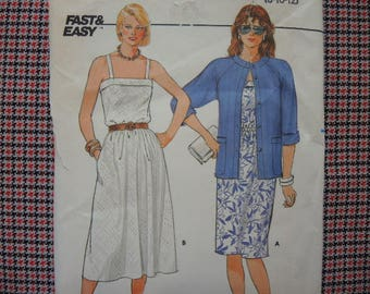 vintage 1980s Butterick sewing pattern 6526 Misses jacket and dress 8-10-12 UNCUT