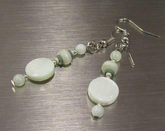 Dangling pale green shell earrings