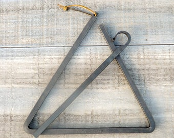 """Personalized Triangle Dinner Bell - Large 12"""" Dinner Bell  - Chuck Wagon Bell - Mother's Day Gift - by The Red Oak Forge on Etsy"""
