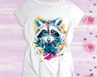 Raccoon women t shirt Watercolor girls printed t-shirt Raccoon art image Animals head painting Dog face ladies tee Raccoon teen graphic top